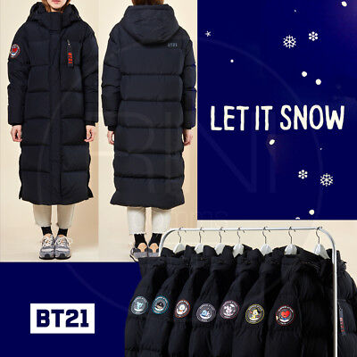 Bench Track (BTS BT21 Official Authentic Goods Long Padded Bench Down Coat Black + Track Num)