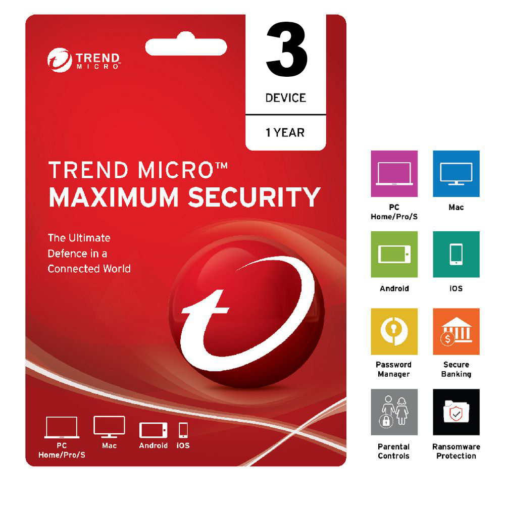 Trend Micro Maximum Security 2020 1 Year 3 Devices Instant Delivery