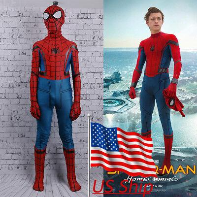 2017 Spider-Man Homecoming Costume Cosplay Spiderman Kids Zentai 3D Costume New