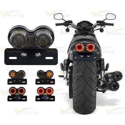 Motorcycle Integrated Light LED Twin Dual Tail Turn Signal Brake License Plate