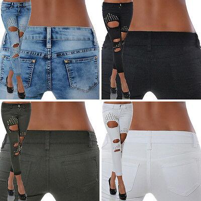 Damen Jeans 7/8 Hose Skinny Hüftjeans Hüfthose Röhre Röhrenjeans Slim Stretch