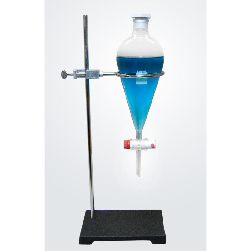 NC-12914, Separatory Funnel With Ring Stand, 500ml,