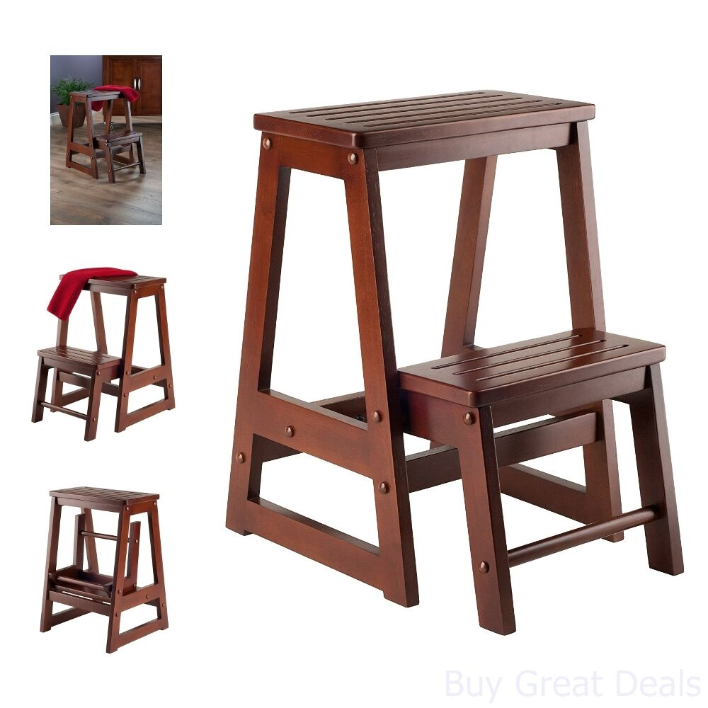 Phenomenal Details About Step Library Chair Folding Craft Solid Wood Antique Walnut 2 Tier Kitchen Home Machost Co Dining Chair Design Ideas Machostcouk