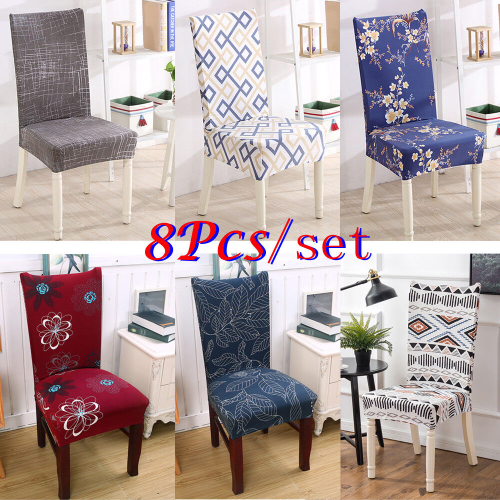 Set of 8 Chair Cover for Dining Room Wedding Banquet Stretch