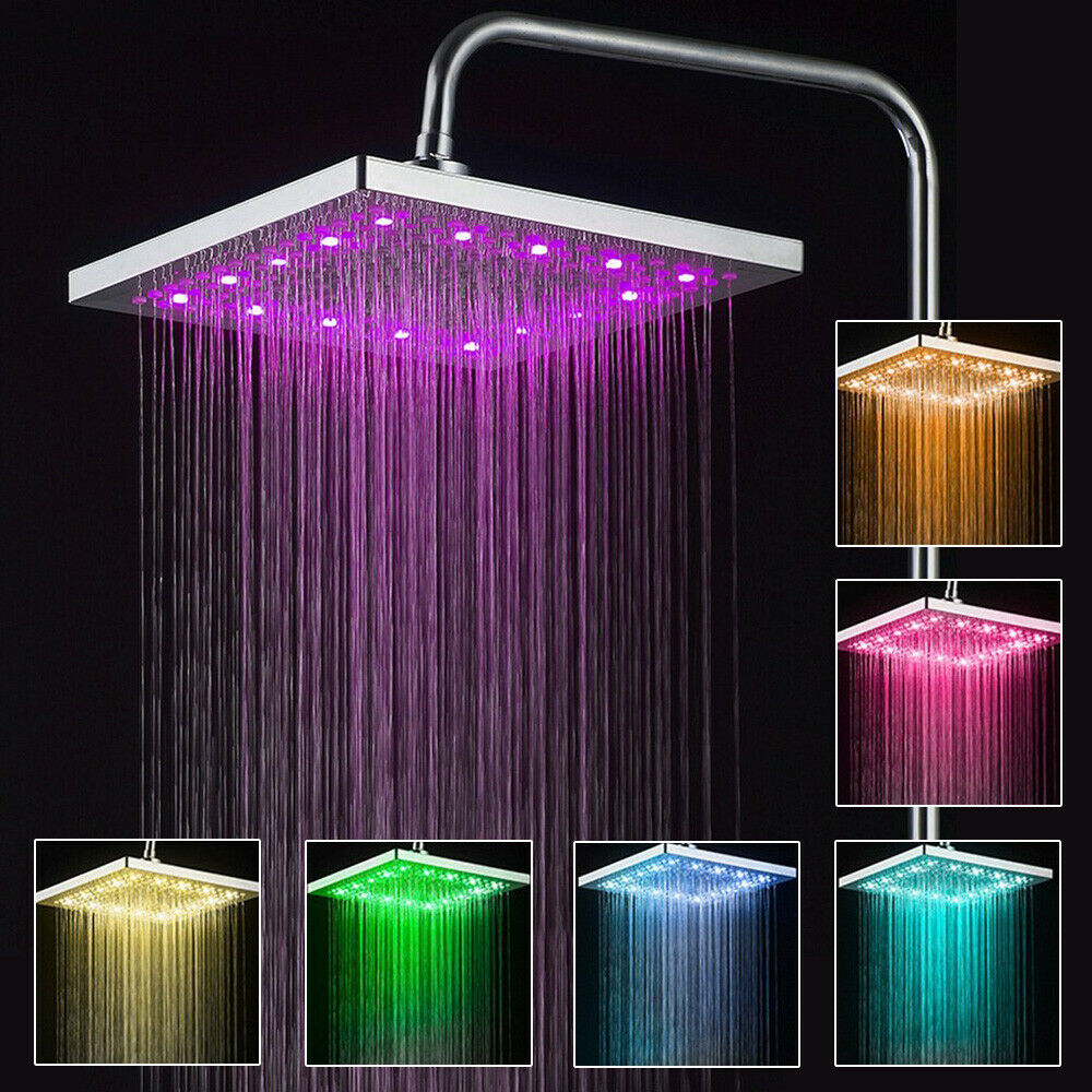8″ Square LED Rainfall Shower Head 7 Color Changing Ultra Thin Top Sprayer Bath