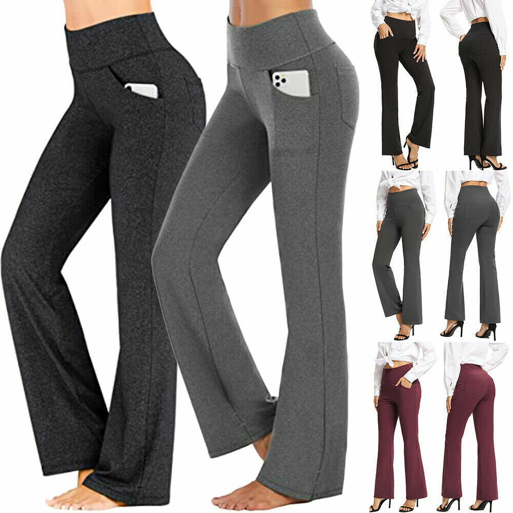 Womens Fold Over Waist Yoga Pants Flare Leg Boot Gym Workout Long Stretch Cotton Clothing, Shoes & Accessories