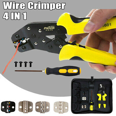 Wire Crimper Ratcheting Terminal Crimping Plier 24-10 Awg Cord End Terminal Tool