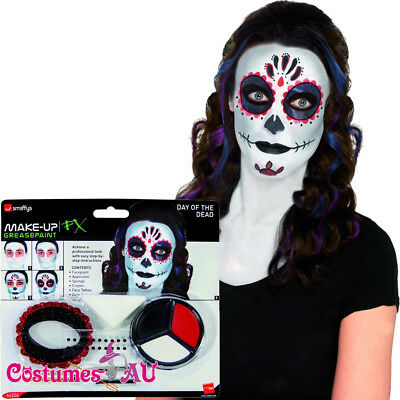 Day of the Dead Make Up Kit Skeleton Scary Bones Halloween Costume Accessories (Scary Skeleton Makeup Halloween)