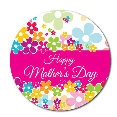 Happy Mother's Day Stickers - Pink - 60mm, crafts and cardmaking - 36 in pack (Mother's Day Crafts)