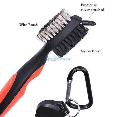 Golf Brush Club Groove Cleaner 2 Ft Retractable Zip-line Aluminum Carabiner NEO@