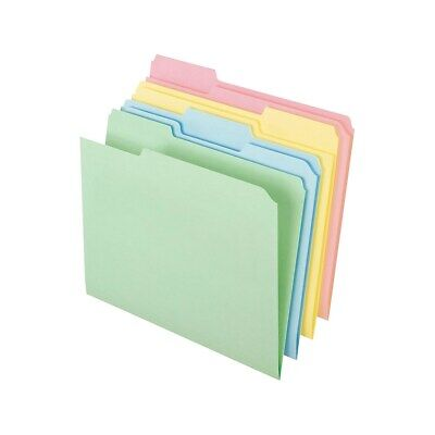 Staples Top-tab File Folders 3-tab Letter Assorted Pastel Colors 100bx 459684