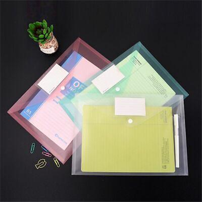 2pcs Transparent Colorful A4 File Bags Button Closure Plastic Document Holder