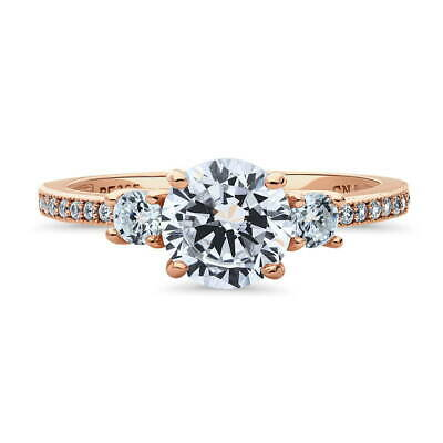 BERRICLE Rose Gold Plated Round CZ 3-Stone Anniversary Promise Engagement Ring