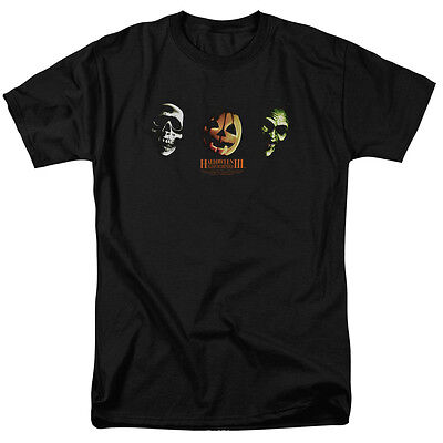 Three Witches Halloween Movie (Halloween III Movie Season of the Witch Three Masks Licensed Shirt)