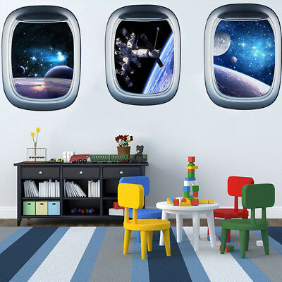 3D Outer Space Planet Wall Stickers Home Decor Mural Art Wall Decals (Outer Space Wall Mural)