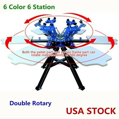 6 Color Silk Screen Printing Press 6 Station Printer Double Rotary Equipment Us