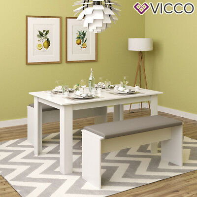 VICCO Tischgruppe Weiß - Sitzgruppe Essgruppe Holztisch Esstisch Holz Tisch (Esstische)