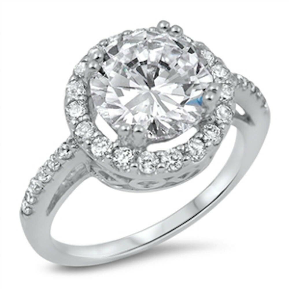 Antique Round Cubic Zirconia Engagement .925 Sterling Silver Ring Size 5-10