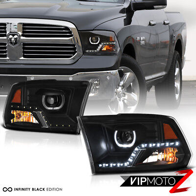 2009-2018 Dodge Ram 1500 2500 3500 [HIGH OUTPUT] LED Black Headlights Assembly