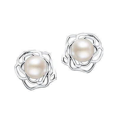 Süßwasserperle Silber Ohrstecker Rose 925er Weiß Elfenbein Perlen - Perle Silber Beine