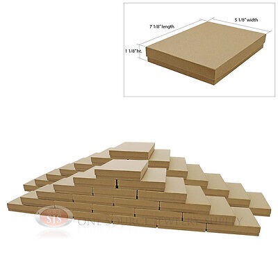 Large 50 Brown Kraft Cotton Filled Jewelry Gift Boxes 7 18 X 5 18 X 1 18h
