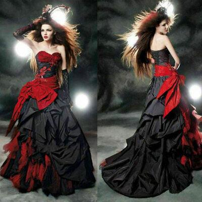 Rot Schwarz Taffeta Brautkleider Gothic Halloween Hochzeitskleid - Halloween Hochzeit Kleider