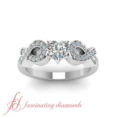 .70 Ct Womens White Gold Engagement Rings Pave Set With Heart Shape Diamond GIA 1