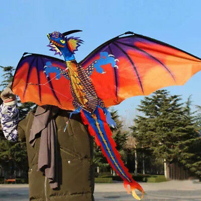 Fun Toys For Kids Play - 3D Dragon With Tail Kite Large Line Outdoor Flying - Fun Games For Kids Outside
