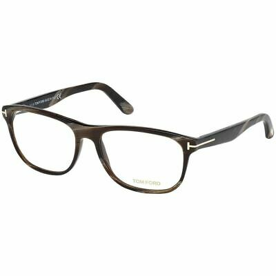 New Authentic Tom Ford Men's Square Eyeglasses Brown Horn w/Demo Lens FT5430 062
