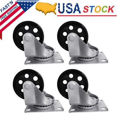 4pcs 2.75 Heavy Duty Steel Plate Cast Iron Caster Swivel Metal Industrial Wheel