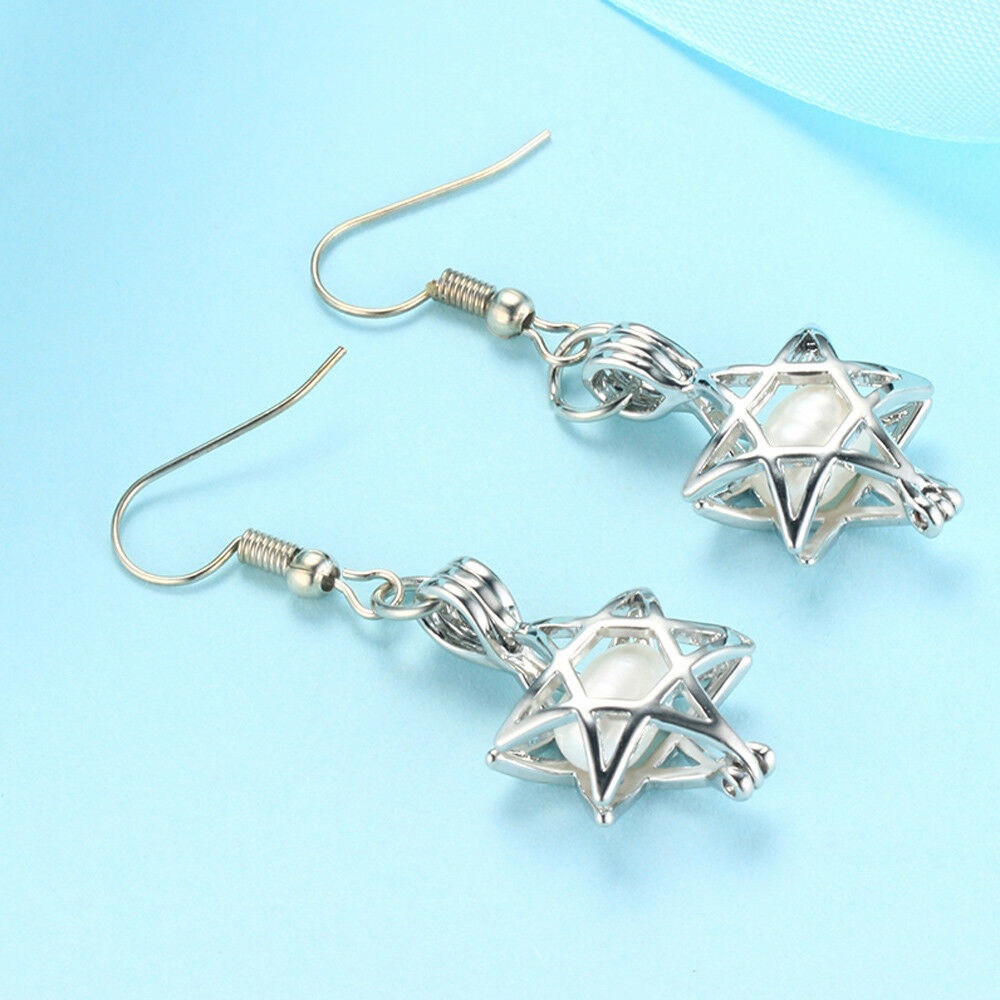 1Pair Pearl Cage Pendant Silver Plated Locket Earrings Dangle Ear Drops Jewelry
