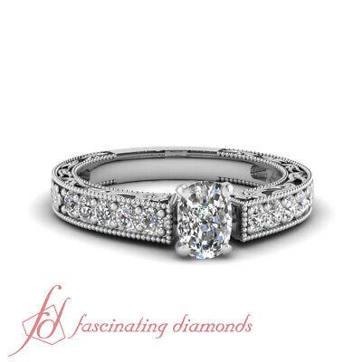 Milgrain Engagement Ring Pave Set 1 Carat Cushion Cut Diamond SI1 GIA Certified