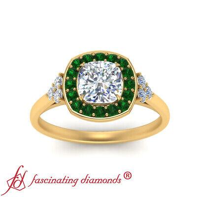 Halo Engagement Ring With 1.25 Carat Cushion Cut Diamond And Emerald Gemstone 2