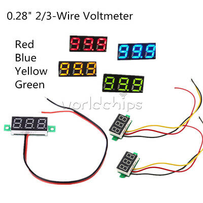 0.28 Led Display Digital Voltmeter Gauge Voltage Detector Panel Meter 23 Wire