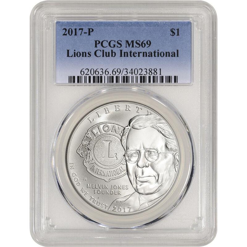 2017-P US Lions Club Commemorative BU Silver Dollar - PCGS MS69
