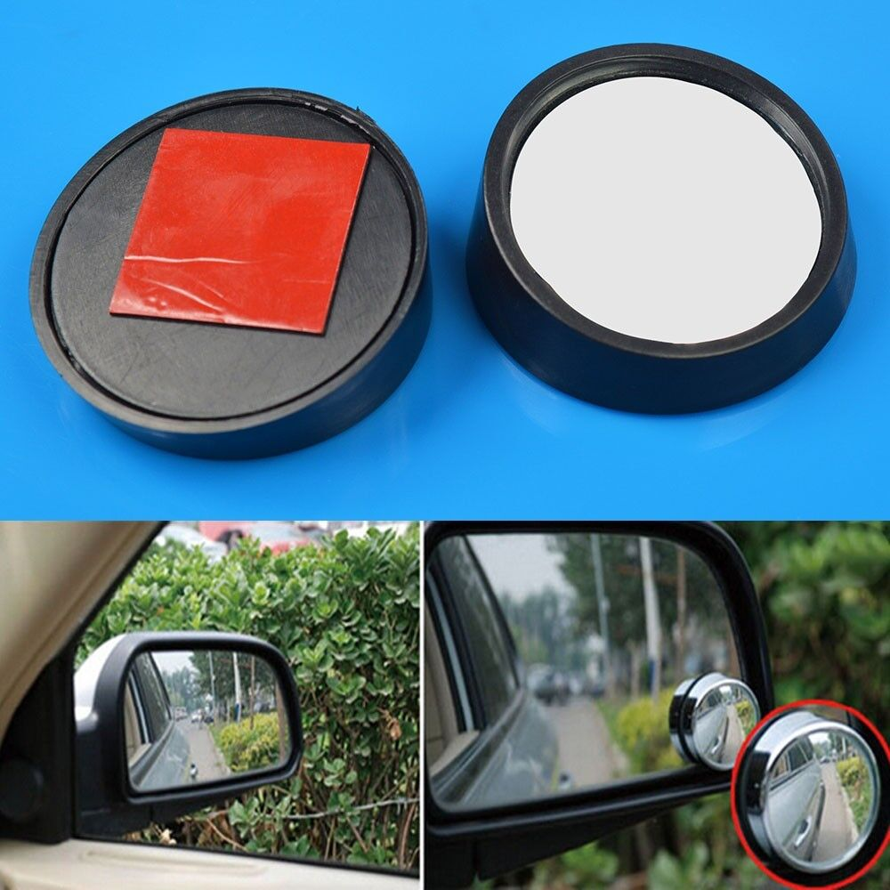 """2/"""" Dia Round Convex Car Side Wide Angle Rear View Blind Spot Mirror Black"""