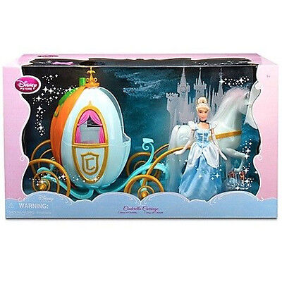 "Disney Princess Cinderella 12"" Doll and Big 16"" Carriage Pumpkin 12"" Horse NEW"