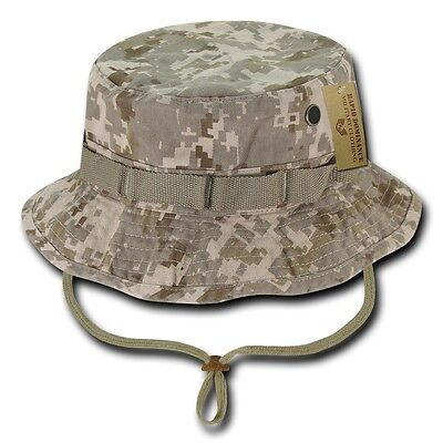 Desert Camo Jungle Hat (Desert Camo Military Boonie Hunting Army Fishing Bucket Jungle Cap Hat M L)