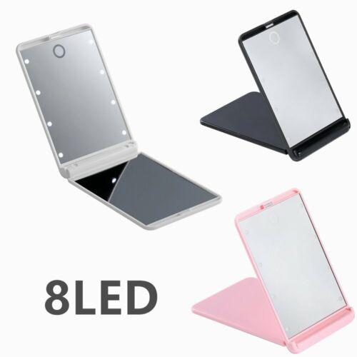 8LED Taschenspiegel Mit Aufsteller / Reisespiegel / Schminkspiegel 3 Farben