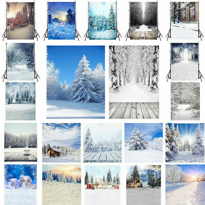 Xmas Winter Forest Scene Backgrounds Christmas Tree Gifts Photography Backdrop