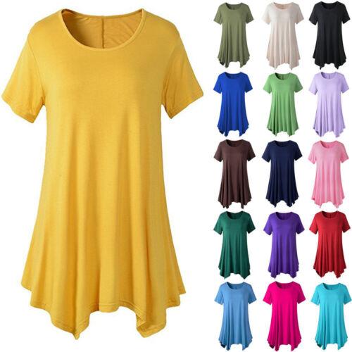 Plus Size Women Cotton Tunic Tops Swing Short Sleeve Blouses