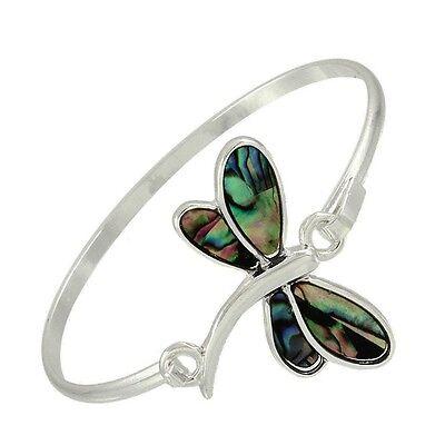 (Dragonfly Bracelet Thin Bar Hinge Bangle Silver Abalone Shell Beach Nature )