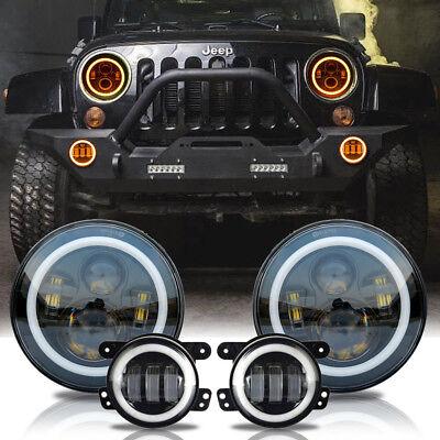 LED Halo Headlights+LED Fog Light DRL Combo Kit For Jeep Wrangler JK 2007-2018