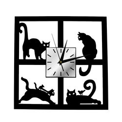 Four Adorable Cats in the Window Clock 3D Black Kitten Slient Quartz Wall Watch