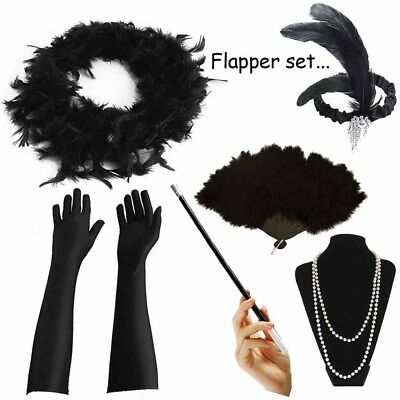 1920's Womens Flapper Charleston Accessory Black Set Gatsby Fancy Dress Costume - 20s Costume