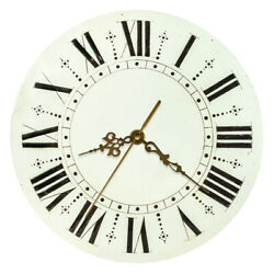 Retro Rustic Round Wall Clock Roman Numerals Vintage Quartz Whisper Quiet Watch