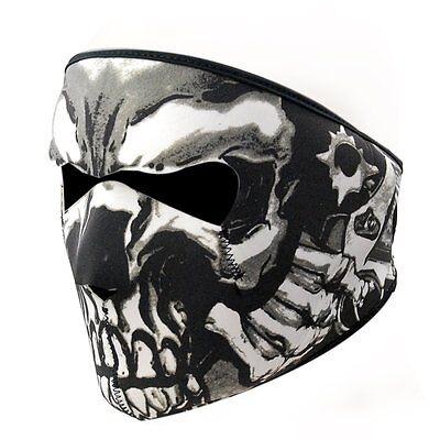 Skull Black 2 In 1 Reversible Neoprene Full Face Mask Motorcycle Biker Ski Fang