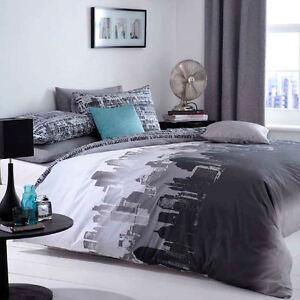 Catherine Lansfield City Scape Black Grey New York Duvet Quilt Cover Bedding Set