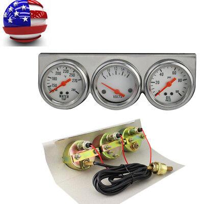 Universal Chrome Oil Pressure Water Volt Triple 3 Gauge Set Car Gauges Kit (Best Oil Pressure Gauge)