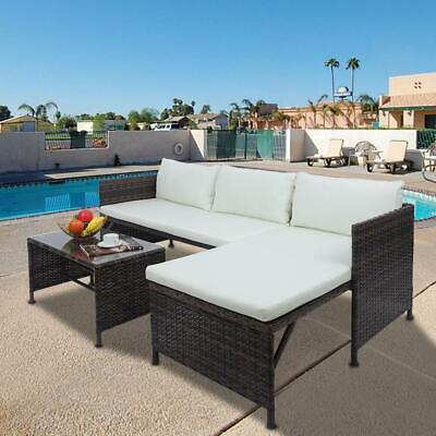 Garden Furniture - Garden Patio Rattan Furniture Conversation Sofa Set Coffee Table w/Beige Cushion